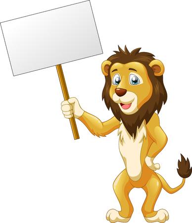 Cute lion cartoon with sign. Vector illustration Illustration