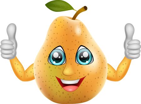 Cartoon pear giving thumbs up. Vector illustration