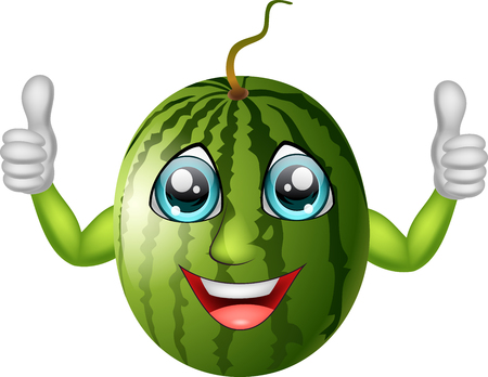 Cartoon watermelon giving thumbs up. Vector illustration Stok Fotoğraf - 77184052