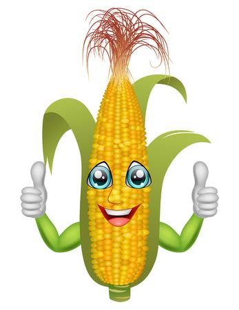 Cartoon corn giving thumbs up. Vector illustration