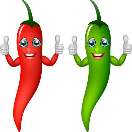 Chile de dibujos animados dando pulgares. Ilustración vectorial Foto de archivo - 77184059