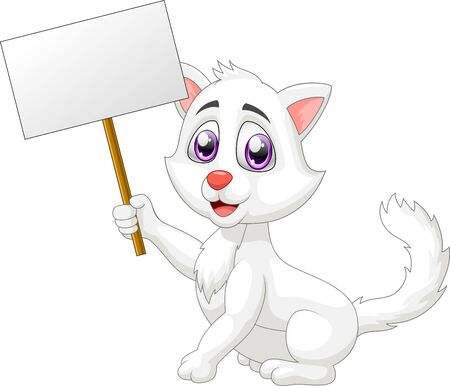 Cute cat cartoon with sign. vector illustration