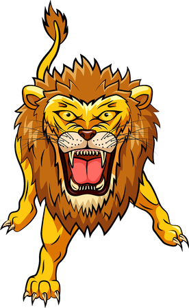 Lion angry mascot. Vector illustration