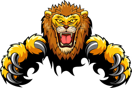 Concept d'attaque de Lion. Illustration vectorielle