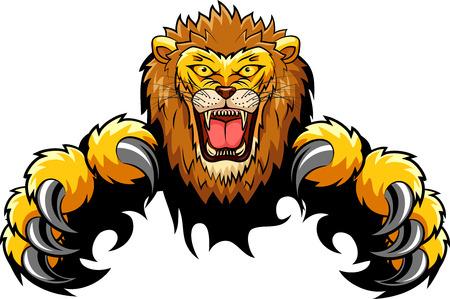 Lion Attack Concept. Vector illustratie