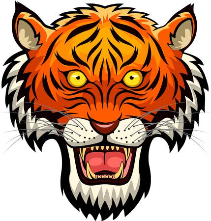 bengal: Tiger mascot face. Vector illustration