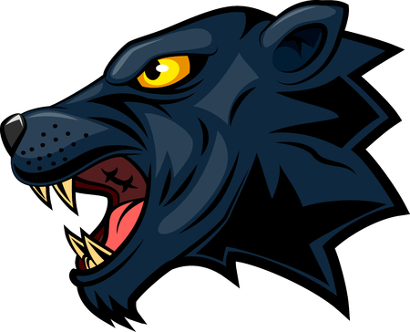 Panther mascot face. Vector illustration
