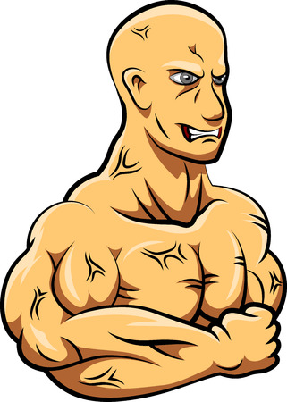 Man strong mascot. Vector illustration