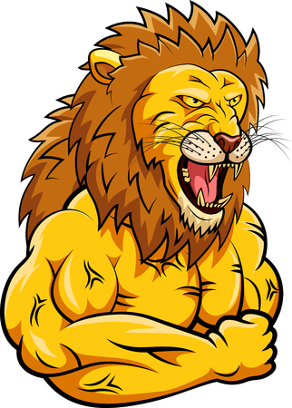 Lion strong mascot. Vector illustration Illustration