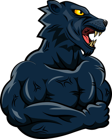 Panther strong mascot. Vector illustration