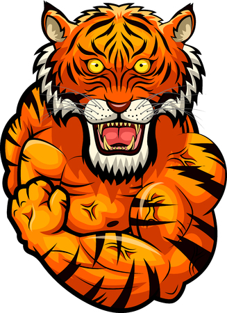 Tiger strong mascot. Vector illustration