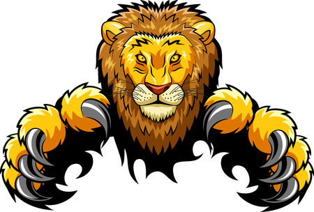 angry lion mascot. Vector illustration