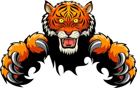 Concept d'attaque de tigre. Illustration vectorielle Banque d'images - 79522756