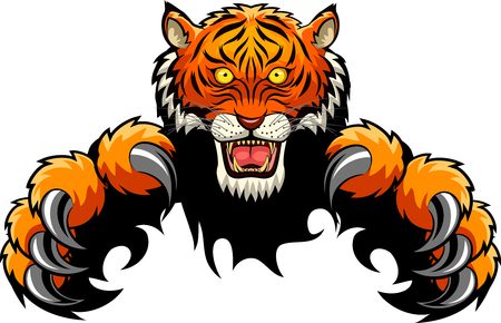 Tiger Attack Concept. Vector illustration Illustration