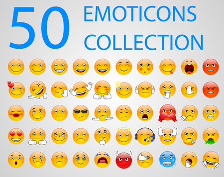 Set of emoticons, emoji isolated on white background. Vector illustration Vettoriali