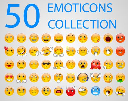 Zestaw emotikonów, emoji na białym tle. Ilustracja wektorowa