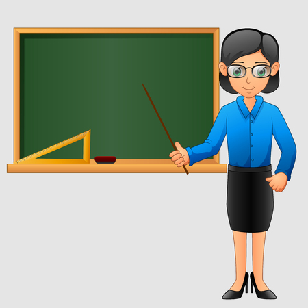 Young friendly teacher standing in classroom Illustration