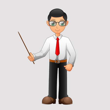 Cartoon male teacher. Vector illustration