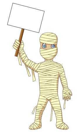 Cartoon-Mumie mit Schild. Vektor-Illustration