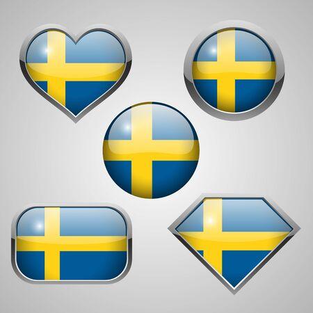 scandinavia: sweden flag icon theme. vector illustration