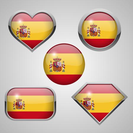 glass reflection: Spain flag icons theme. vector illustration