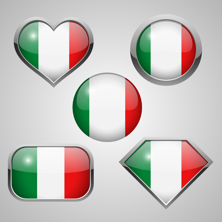 glass reflection: Italy flag icons theme. vector illustration