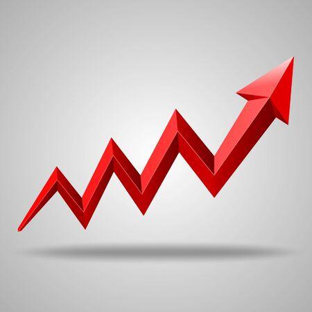 Business charts red arrow. Vector illustration Illustration