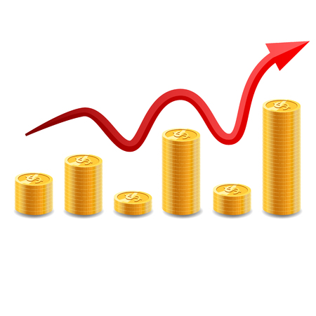Increasing piles of coins with going up graph. Concept for financial growth Vector illustration