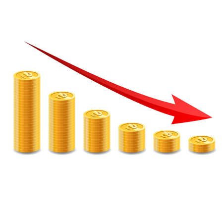 Decreasing piles of coins with going down graph. Concept for financial fall. Vector illustration