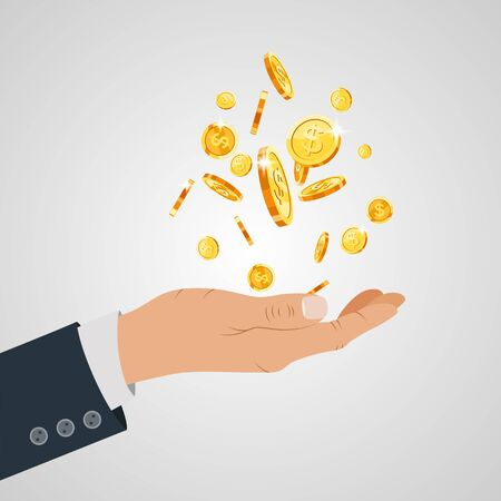 Gold coin in hand businessman isometric design. Vector illustration Illustration