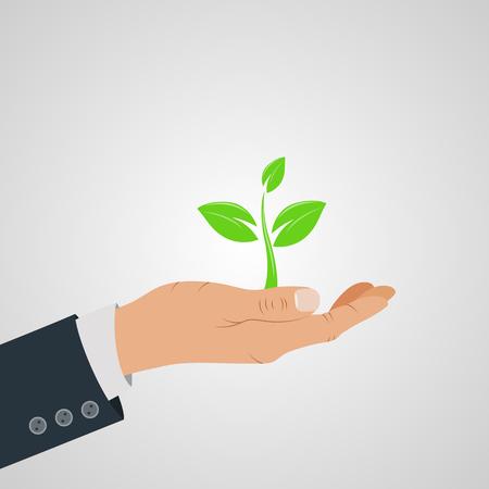 Hand with leaf - nature conservation concept. Vector illustration Illustration