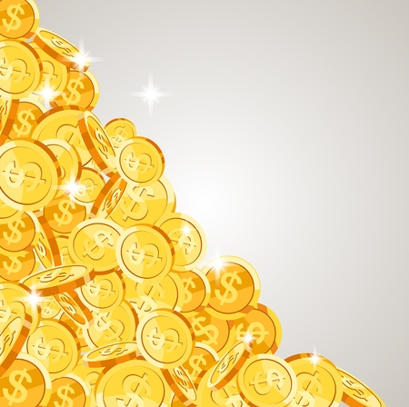 Realistic Gold coins falling down. Isolated on white background. Vector illustration