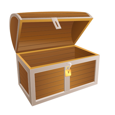 vintage wooden chest with open lid vector illustration