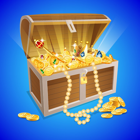 vintage wooden chest with golden coin vector illustration Çizim
