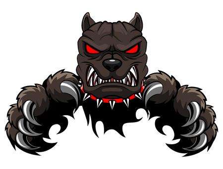 怒っている犬のマスコットの漫画。ベクトル図