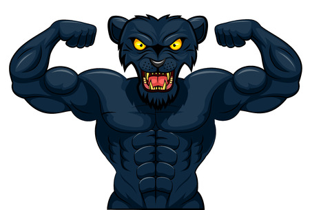 Angry strong panther mascot. Vector illustration.
