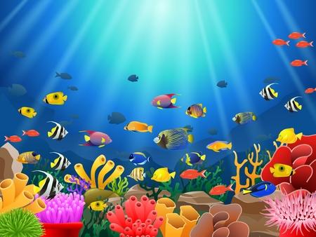 Vissen onder de zee Stock Illustratie