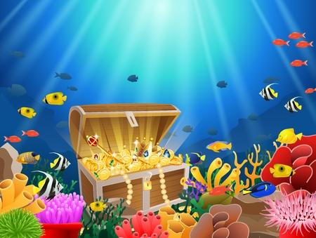 Skrzynia skarbów w podwodnych wodach