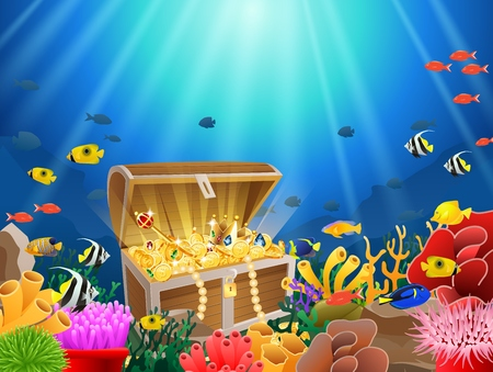 Treasure chest in underwater Imagens - 87676288