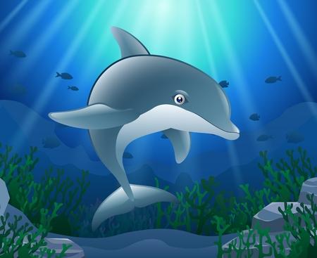 Cartoon dolphin with Coral Reef Underwater in Ocean