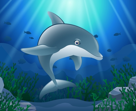 Cartoon dolphin with Coral Reef Underwater in Ocean