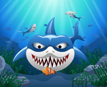 Cartoon shark attack clown fish underwater in ocean. Illustration