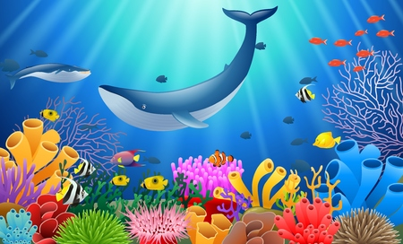 Cartoon whale with coral reef underwater in ocean.