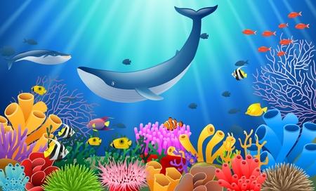 Kreskówka wieloryb z rafą koralowa podwodną w oceanie. Ilustracje wektorowe