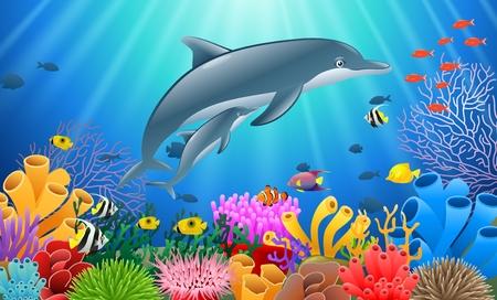 海でサンゴ礁の水中でイルカを漫画。ベクトル図