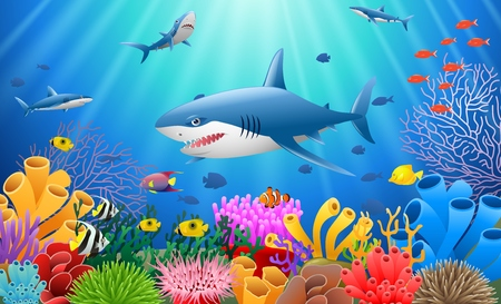 Cartoon shark with Coral Reef Underwater in Ocean Çizim