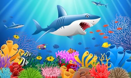 바다에서 산호초 수 중 물고기와 상어 만화