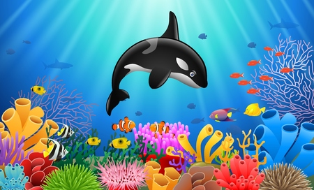 Cartoon killer whale with Coral Reef Underwater in Ocean. Ilustração