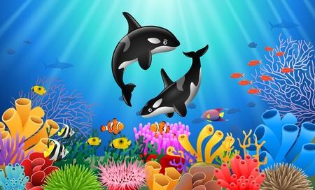 Cartoon orca con arrecife de coral bajo el agua en el océano.