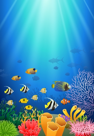 Colorful coral reef with fish and stone arch on a blue sea background. Vector Illustration.